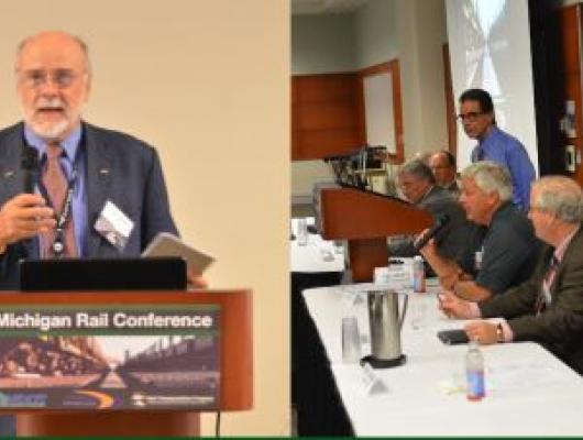Tom Carper delivers his presentation; A panel of professionals delivers a panel session.